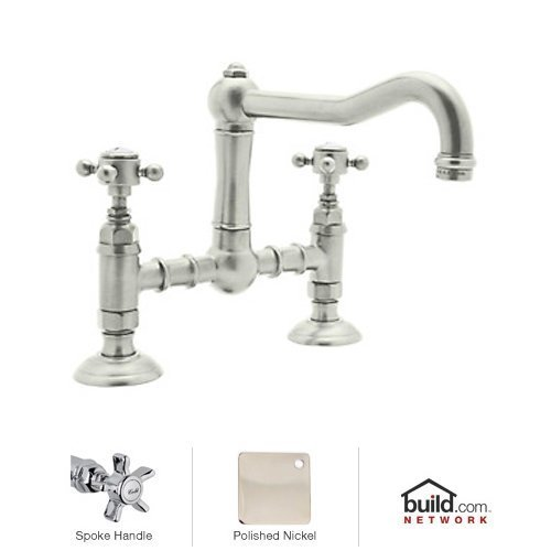 Rohl A1459XPN-2 Country Kitchen Deck Mounted Bridge Faucet with Five Spoke Handle and Column Spout, Polished Nickel (Spout Bridge)