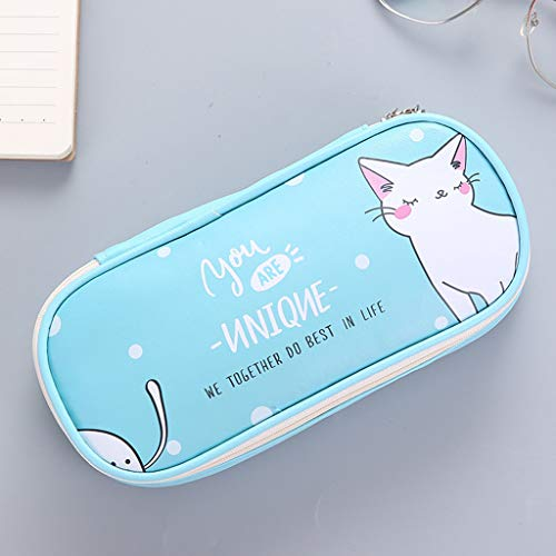 Floral Canvas Cosmetic Case Cute Cartoon Student Leather Pencil Pen Case Box Makeup Pouch Brush Holder Bag (Light Blue)