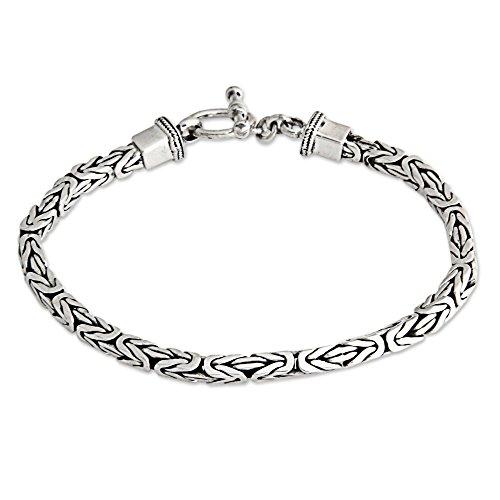 NOVICA .925 Sterling Silver Men's Balinese Chain Bracelet, 8.75