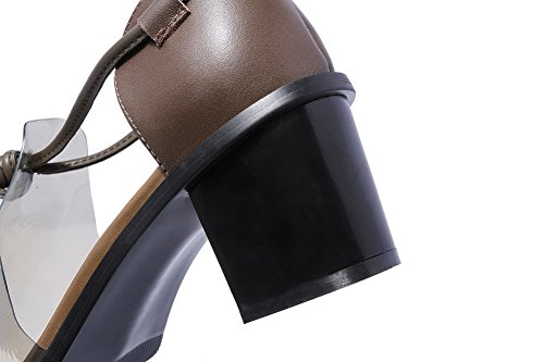 Lace Womens Coffee Solid Sandals Cow AmoonyFashion Leather Heels up Kitten Open Toe RUgSSc6