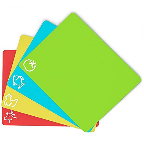 Callemine Flexible Plastic Cutting Board Mats set of 4, Colored Mats With Food Icons, BPA-Free, Non-Porous, Anti-skid back and Dishwasher Safe (set of - Board Cutting Plastic