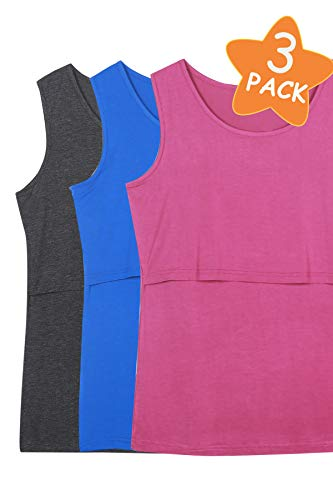 4fd262afb5499 Smallshow Women's 3 Pack Sleeveless Nursing Tank Tops Large,Deep  Grey-Fuchsia Rose-