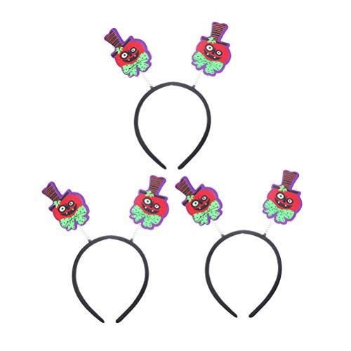 Amosfun 3 Pcs Pumpkin Headband Halloween Hair Hoop Boppers Dance Party Cosplay Performance Hair Accessories (Pumpkin) ()