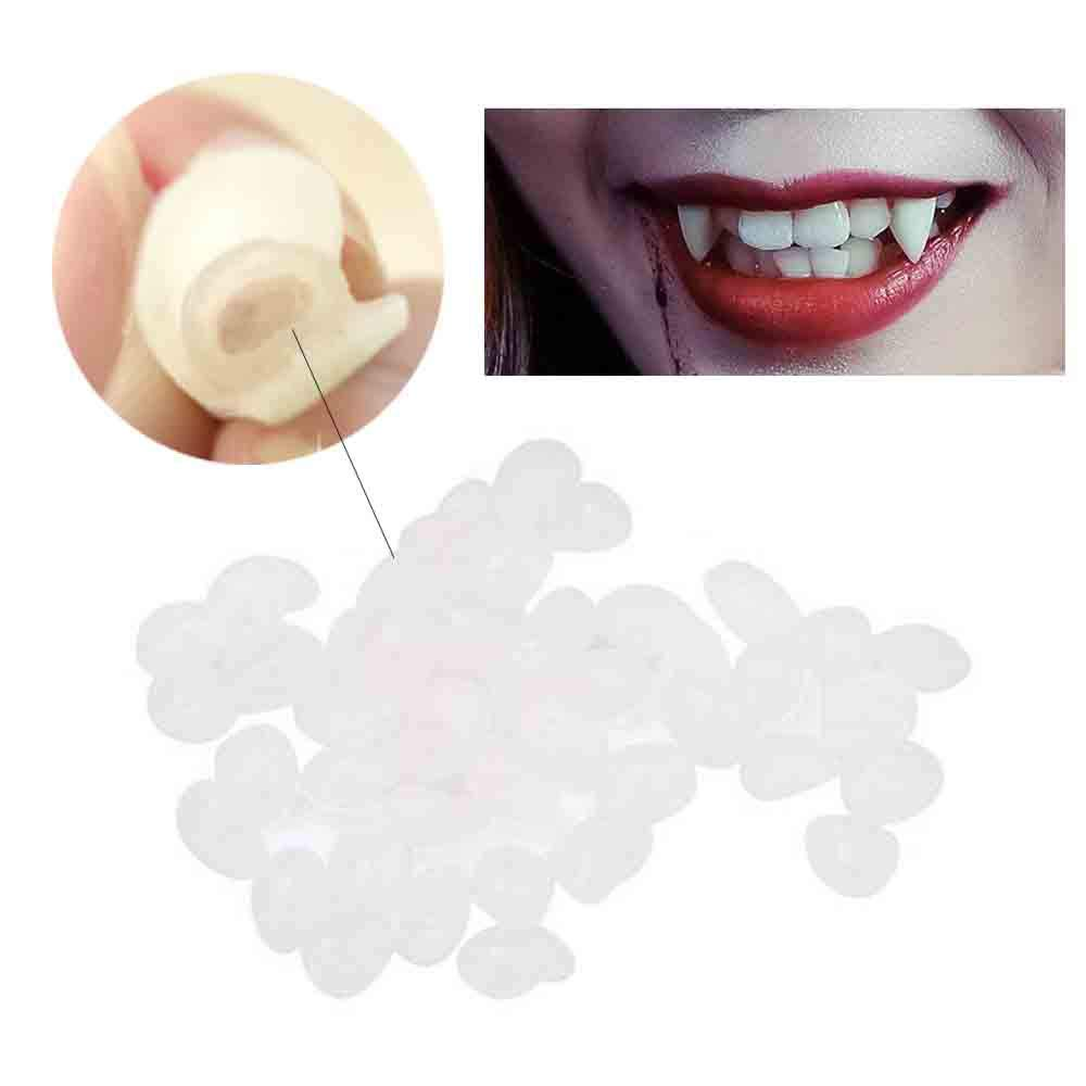 Iusun Halloween Vampire Teeth Fangs Dentures Props Temporary Tooth Solid Glue Denture Adhesive (White -Solid Glue)