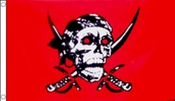 Drapeaux Drapeau Corsaire T/ête de Mort Rouge 60 x 90 cm AZ FLAG Drapeau Pirate Red Skull 90x60cm