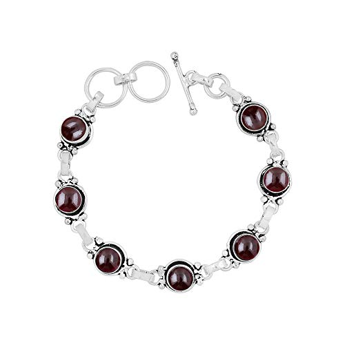 (Genuine 7mm Round Shape Garnet Link Bracelet 925 Silver Overlay Handmade Jewelry for Women Girls)