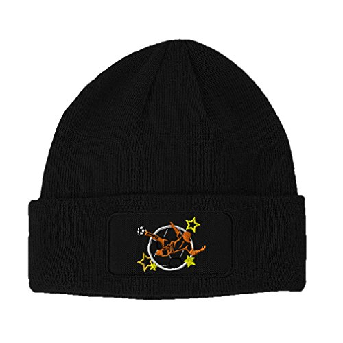 1 Soccer Embroidery (Speedy Pros Sport Soccer Logo Embroidery Double Layer Acrylic Patch Beanie, Black)
