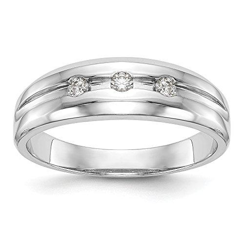 JewelrySuperMart Collection 1/6 CT 14k White Gold 3 Bezel Set Diamond Men's Ring. 0.2 ctw. Size ()