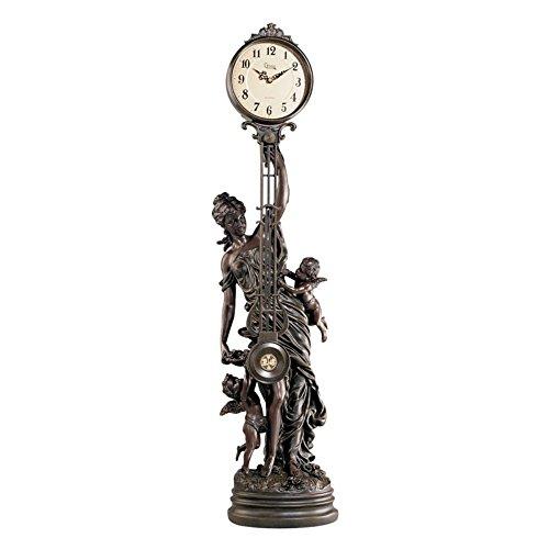 Grand-Scale Flora Sculptural Swinging Pendulum Clock in Anti