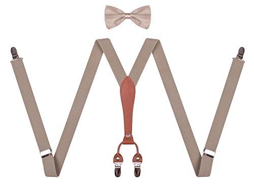 toddler boys best suspender bowtie for wedding 22 Inches (7 months - 3yrs) Khaki