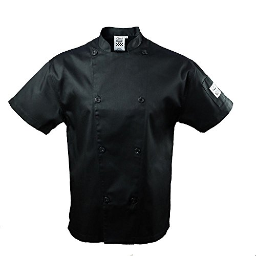 Chef Revival J005BK Poly Cotton Knife and Steel Short Sleeve Chef Jacket with Black Chef Logo Button, Medium, Black (Chef Revival Clothing)