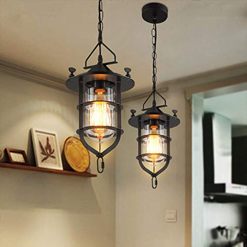 FidgetFidget Retro Loft Chandelier Ceiling Light Fixtures Bar Restaurant Pendant Lamp Lantern