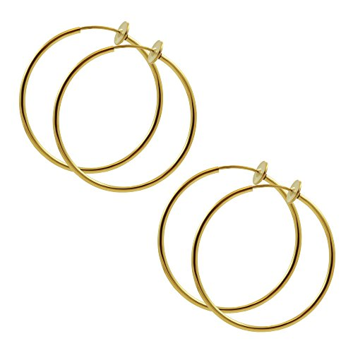 TWO Pair of Large 1 & 3/8 inch Gold Color Non Pierce Clip on Hoop Earrings for Teens-Women