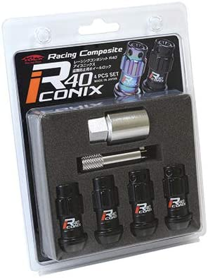 新品*YIF4-1KR*Racing Composite R40 iCONIX Lock 4pcs SET (M12×P1.5) (Resin Cap)*ブラック*樹脂製 キャップ付 レッド*(ロックのみ)
