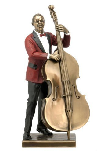 Double Bass Player Statue Sculpture Figurine - Jazz Band Collection wu
