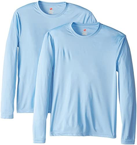 Hanes Men's Long Sleeve Cool Dri T-Shirt UPF 50+ (Pack of two)