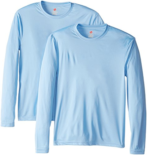 Hanes Men's Long Sleeve Cool Dri T-Shirt UPF 50+, Large, 2 Pack ,Light Blue