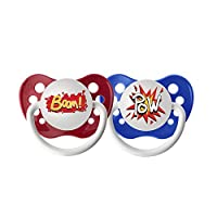 Ulubulu Expression Pacifier Set for Boys, Pow and Boom, 0-6 Months