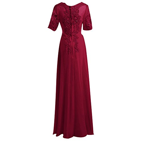 Short Women's Dress Beaded H Line S Sleeves Chiffon D Bridesmaid Burgundy Prom A Gowns Zx6XEq