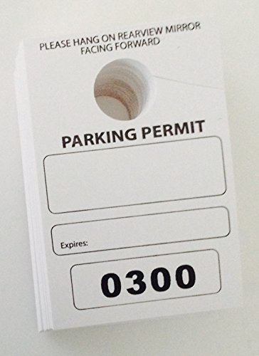 Parking Permit Hang Tags, 3-1/8 x 4-3/4, Numbered 0250-0499 - Pack of 250