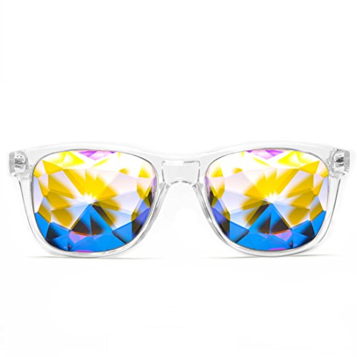 GloFX Ultimate Kaleidoscope Glasses - Clear - Rainbow EDM Rave Light Diffraction Eyewear (Clear)