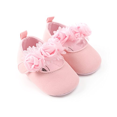 Kuner Baby Girls Lace Flowers Bow Mary Jane Princess Shoes No-Slip First Walkers Shoes