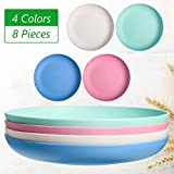 8 Pieces Wheat Straw Plates, Unbreakable Dinner