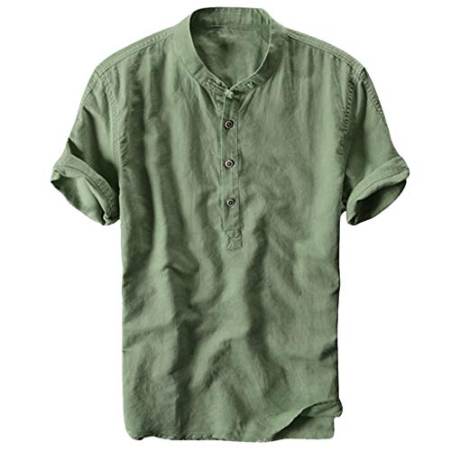 MIS1950s Mens Linen Short Sleeve Shirts Cotton Button up Loose Casual Summer Beach T Shirt Tops,Cool and Thin