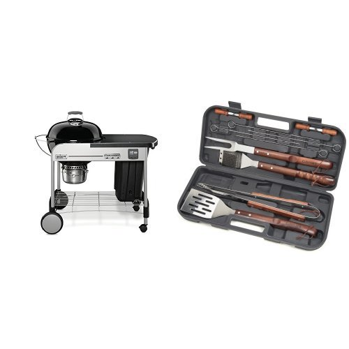 Weber 15401001 Performer Premium Charcoal Grill, 22-Inch, Black with Cuisinart Grilling Set by Weber