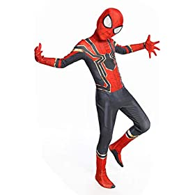 - 41ggAXG6fxL - Newhui Teens Kids Halloween Spider Red Zentai Costume Bodysuit Cosplay Mask