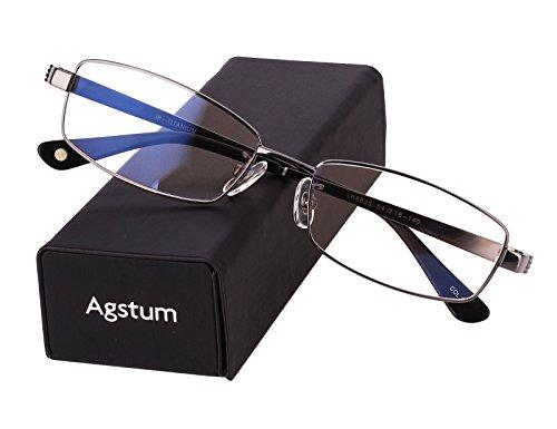 - Agstum Pure Titanium Full Rim Glasses Frame Optical Eyeglasses Rxable 54mm (Grey, 54)