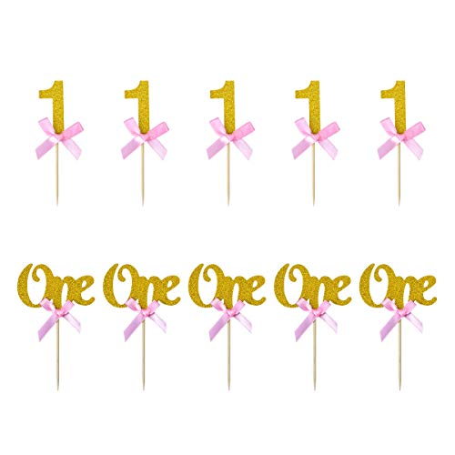 YoungRich 24PCS Cupcake Toppers in Glitter Gold