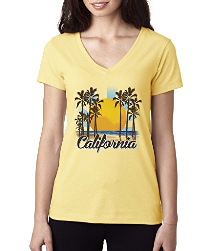 Womens California V-neck T-shirt (Cali Life California Republic Ladies V-Neck T-shirt West Coast Palm Trees Shirts Banana c6)