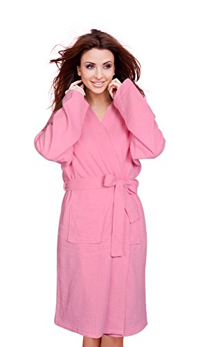 Extremely soft, not too thick, comfortable robe..