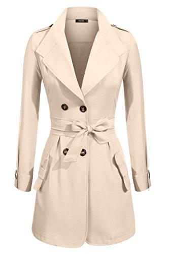 Finejo Women's Double Breasted Slim Fitted Dust Coat Winter Trench Coat Jacket