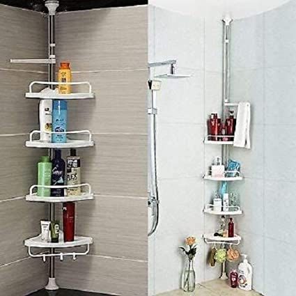 4 Tier Adjustable Telescopic Bathroom Organiser Corner Shower Shelf Unit Rack Caddy White Amazon Co Uk Kitchen Home