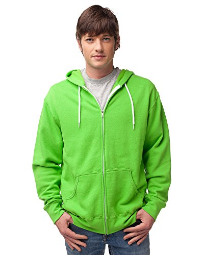 Global Blank Slim Fit Lightweight Zip up Hoodie for Men and Women L Neon Green