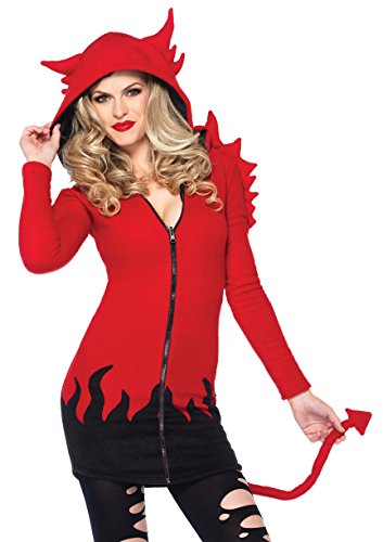 Halloween Ladies Costume Devil (Leg Avenue Women's Cozy Devil Costume, Red,)