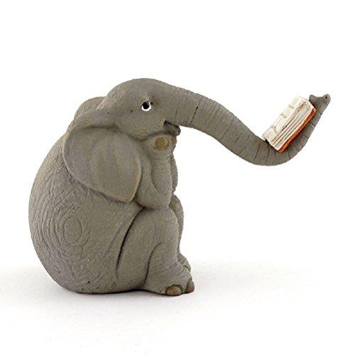 Miniature FAIRY GARDEN Elephant Reading Book (Cherub Weathervane)