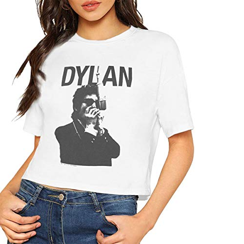 Dylan Crop - GMSQJ-Top Official Bob Dylan Harmonica Ladies Sexy Popular Bare Midriff Crop Top T-Shirt White