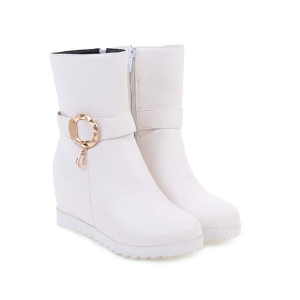 FMWLST Stiefel Woherren Stiefel Zipper Buckle Height Increase Round Tow Stiefel Winter Warm Stiefel