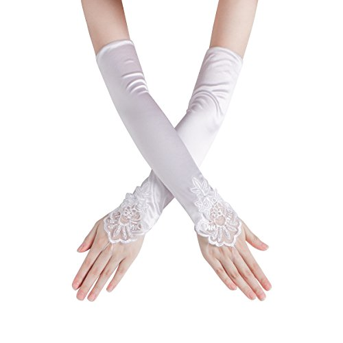 Women's Embroidered Fingerless Hook Glove/Bridal Lace & Sequins Satin Gloves For Wedding Evening Party Accessories (White)