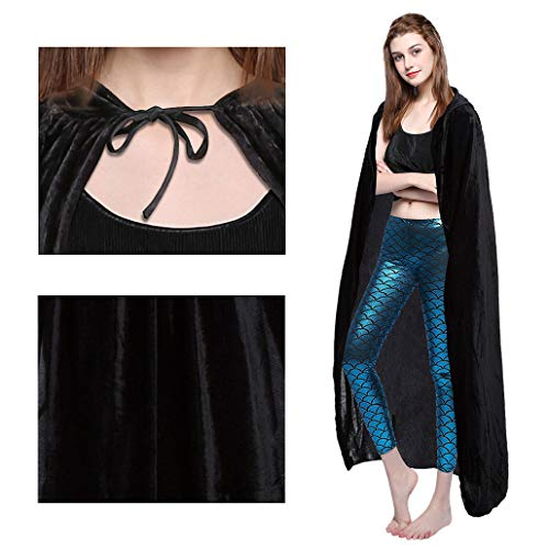 Besteamer Halloween Cloak Cape with Hood, Black Hooded