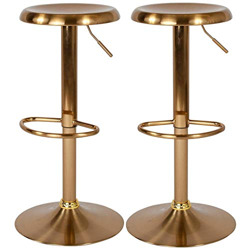 Contemporary Classic Design Metal Dining Round Backless Bar Stools Adjustable Height Swivel Seat Lounge Restaurant Diner Commercial Home Office Furniture - Set of 2 Gold #2205 by KLS14 (Image #5)