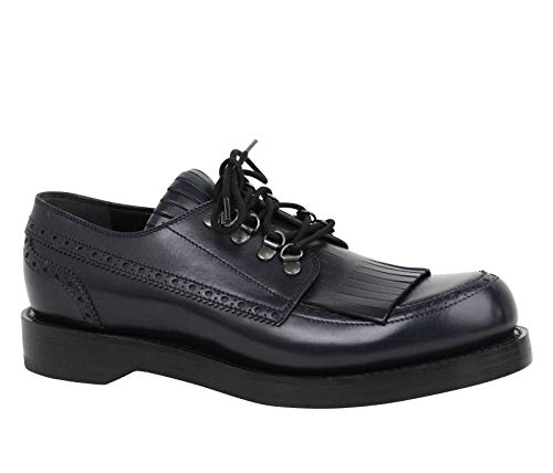 Gucci Fringed Brogue Lace-Up Dark Blue Leather Shoes 358271 4009 (9.5 G / 10.5 US)