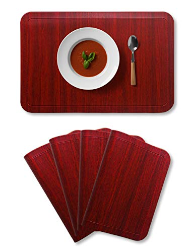 Alpiriral Dining Table Place Mats Set of 4 Heat Resistant Place Mats Easy to Wipe Off Scrub Vinyl Place Mats Washable Table Mats Protect The Table from Messes & with A Nice Looking in RED