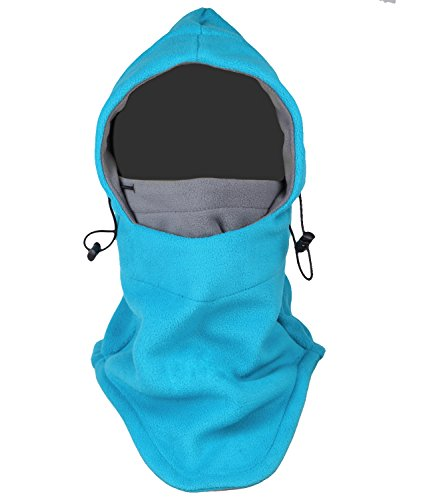Nanji Balaclava Fleece Hood, Heavyweight Cold Weather Winter Motorcycle, Windproof Ski Mask, Ski and Snowboard Gear, Blue/Grey