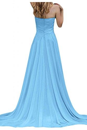 Por la noche vestidos de novia sin tirantes de la Toscana diseño de balón de la gasa de la dama de honor de largo vestidos Prom Azul