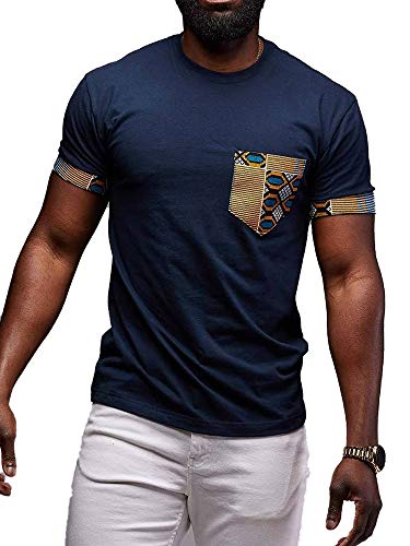 (Mens African Print T-Shirt Dashiki Tops Tribal Short Sleeve V Neck Casual Tees Blouse (D-Blue, Large))