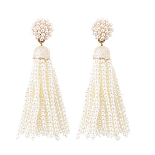 VK Accessories Bead Fringe Dangle Earrings Soriee Drop Earrings Beaded Tassel Ear Drop Pearl White
